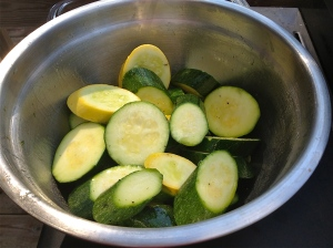 Zucchini glistening in olive oil